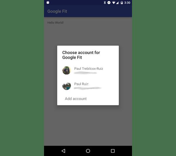 Écran de sélection des e-mails des services Google Play