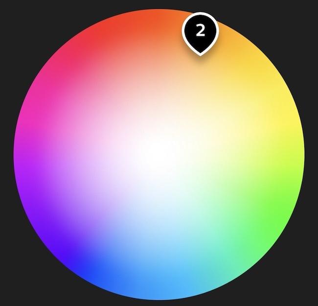 La roue chromatique dans l'application Philips Hue.