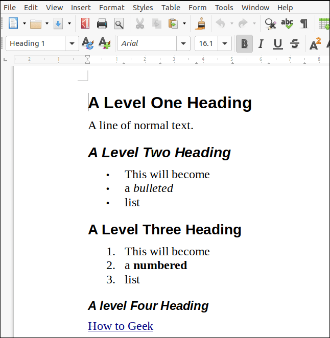 Un document ODT rendu à partir de markdown et ouvert dans LibreOffice Writer.