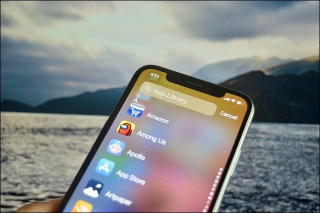 La pantalla de búsqueda de la biblioteca de aplicaciones en iOS 14.