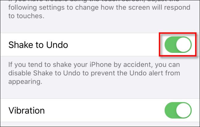 Toque Agitar para deshacer el cambio en la configuración en iPhone o iPad