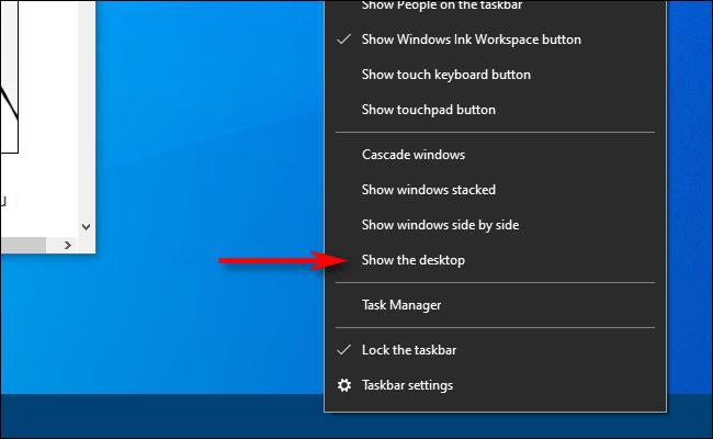 Cliquez avec le bouton droit sur la barre des tâches dans Windows 10 et sélectionnez Afficher le bureau