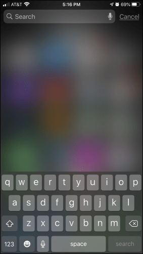 Pantalla de búsqueda de Spotlight en iPhone