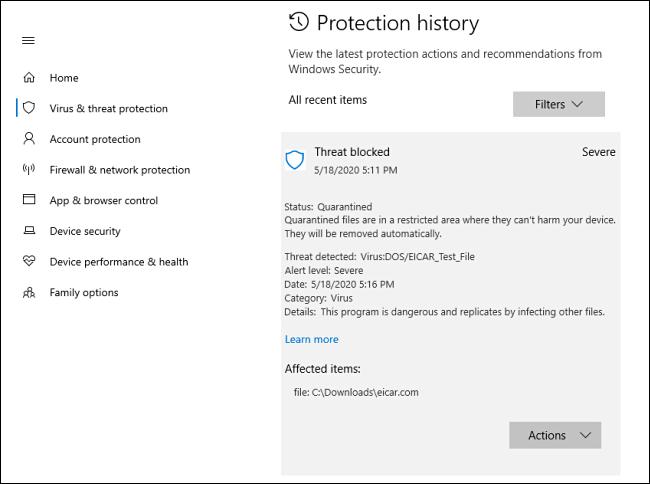 Eine detaillierte Ansicht einer Bedrohung im Schutzverlauf in Windows 10
