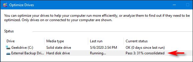 État de l'optimisation et de la défragmentation dans Windows 10