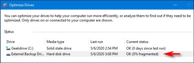 Processus d'optimisation et de défragmentation terminé dans Windows 10