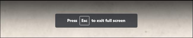 Le message «Appuyez sur Echap pour quitter le plein écran» tout en regardant une vidéo en plein écran sur YouTube.