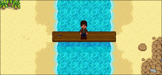 Un personnage assis sur un pont à Tide Pool Beach dans «Stardew Valley».
