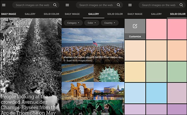 Bing Wallpaper App auf Android-Startbildschirmen.