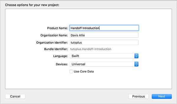 Options de projet