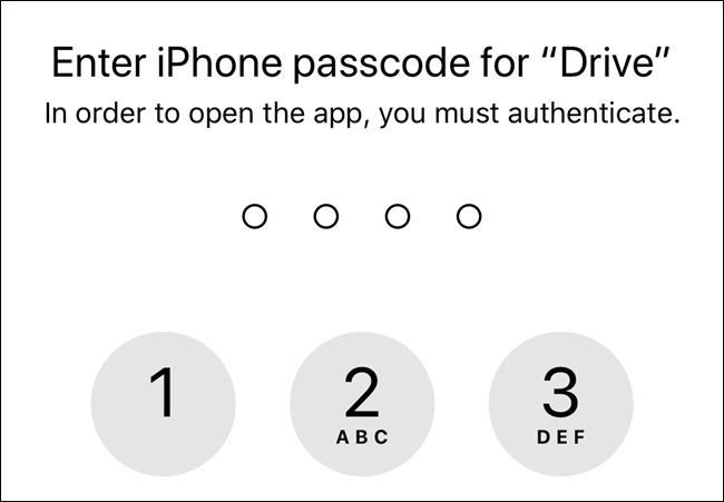 Ohne Autorisierung verwendet Google Drive den Passcode vom Sperrbildschirm Ihres Geräts