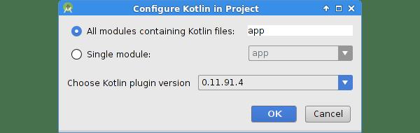 Boîte de dialogue Configurer Kotlin