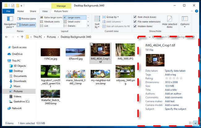 Beispiel für einen Detailbereich im Windows 10-Datei-Explorer