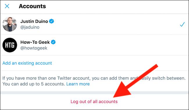 """Cliquez sur le lien """"Se déconnecter de tous les comptes"""""""