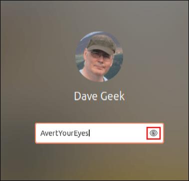 Écran de connexion Ubuntu 20.04 avec image de l'utilisateur et arrière-plan flou du bureau, montrant l'icône en forme d'œil dans le champ du mot de passe
