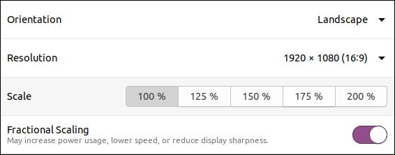 Mise à l'échelle fractionnelle Ubuntu 20.04 activée