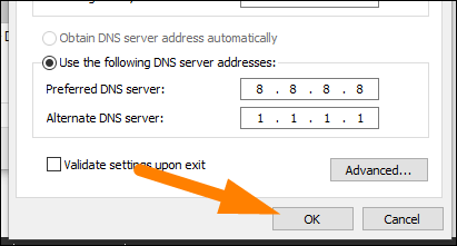 """Tapez les adresses du serveur DNS, puis cliquez sur """"OK""""."""