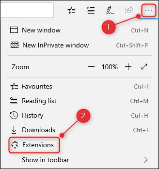 Die 3 Punkte und das Browser-Menü in Edge mit dem