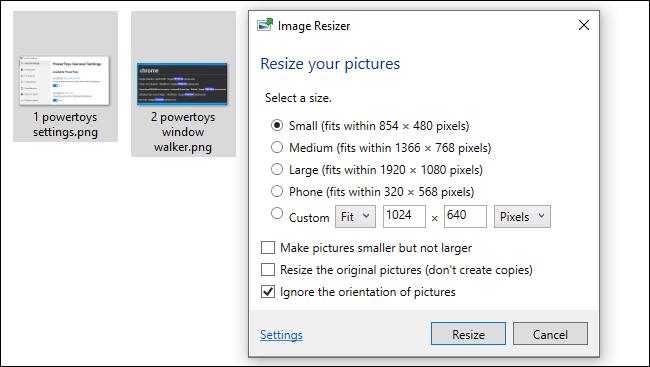 Utilisation de PowerToy Image Resizer de Windows 10