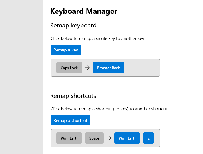Remappage des touches et des raccourcis clavier dans le gestionnaire de clavier PowerToy.