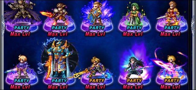 10 personajes en un juego de rol de Gacha.