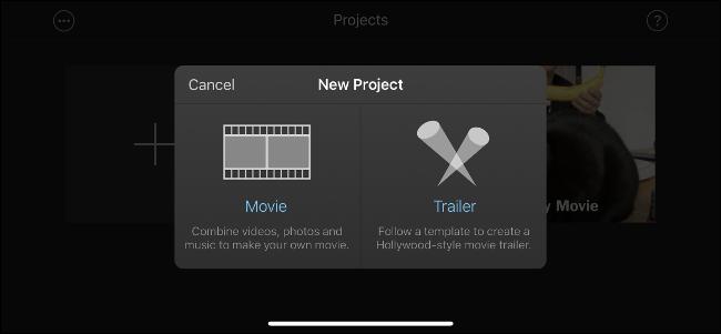 """Le menu """"Nouveau projet"""" dans iMovie."""