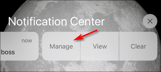 Appuyez sur Gérer dans le centre de notifications