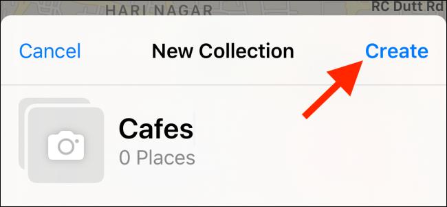 """Appuyez sur """"Créer"""" après avoir nommé votre collection."""