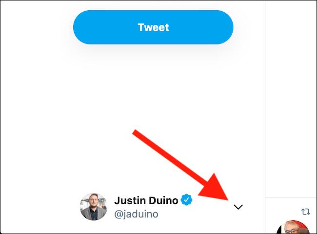 Cliquez sur l'icône de la flèche vers le bas à côté de votre profil Twitter