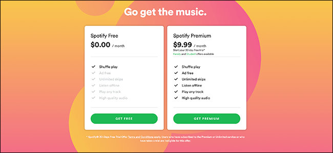 Les options d'abonnement sur Spotify.