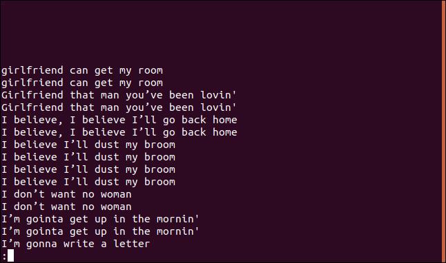 Sortie d'uniq -D sorted.txt |  moins en moins dans une fenêtre de terminal