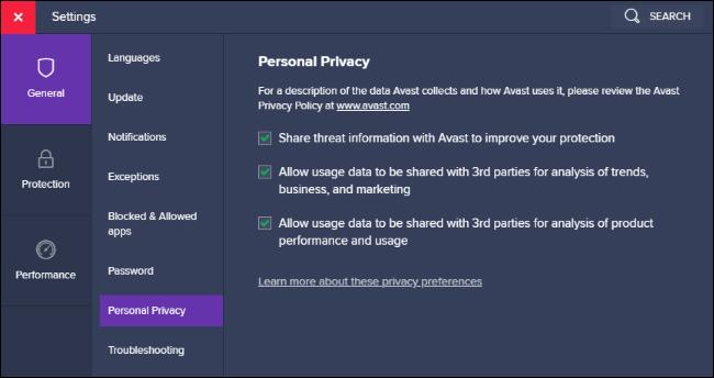 Opciones para compartir datos de privacidad personal en Avast.