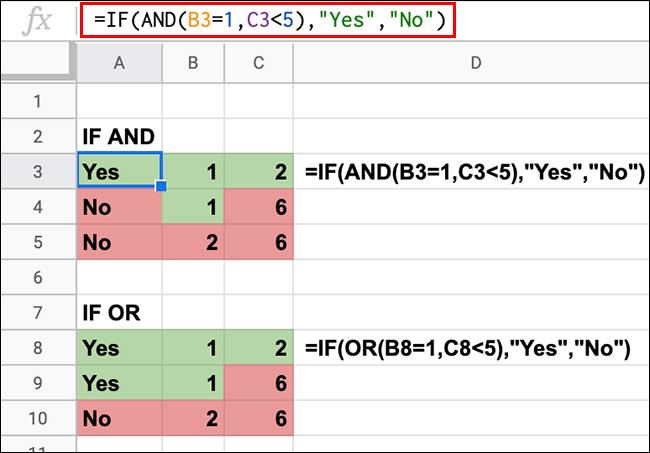 Une feuille de calcul Google Sheets affichant des instructions IF avec des fonctions imbriquées AND et OR