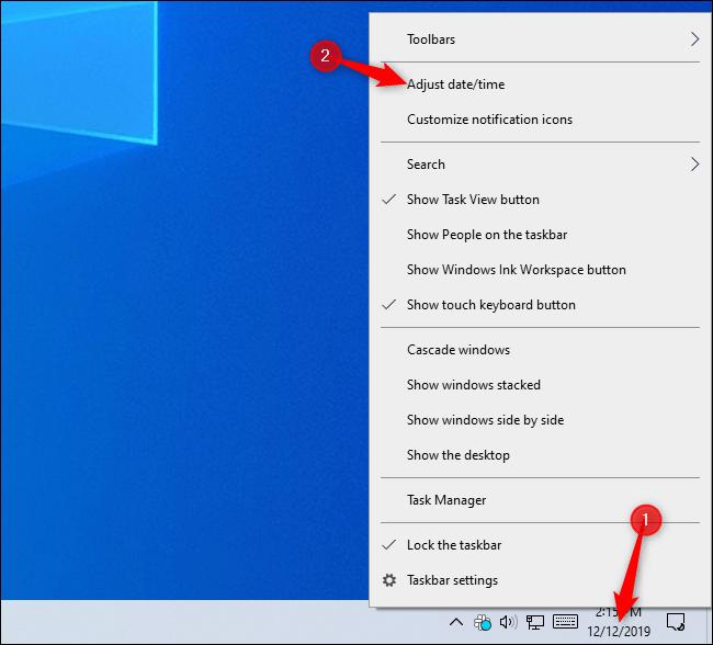 Paramètres d'heure d'ouverture de la barre des tâches de Windows 10.