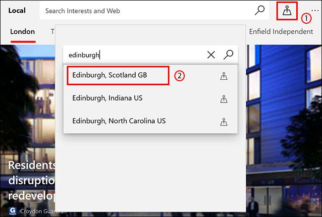 En la pestaña Local de Microsoft News, haga clic en el icono Ubicación, luego busque y haga clic en una ubicación