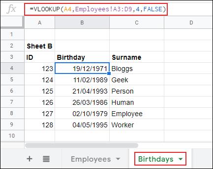 RECHERCHEV dans Google Sheets, renvoyant des données d'une feuille à une autre.
