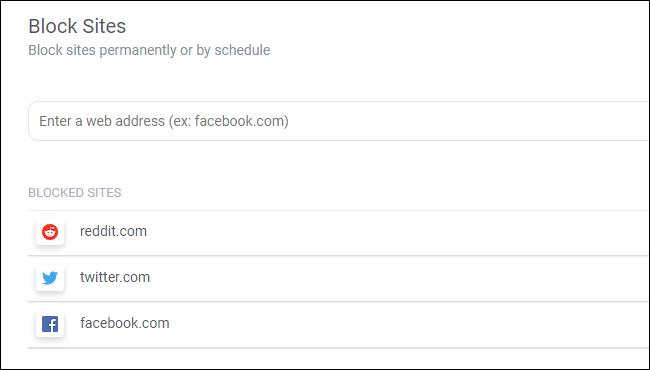 Blockieren Sie Websites mit der Texterweiterung des Chrome Block Site-Browsers.