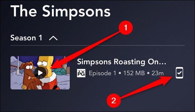 Aplicación Disney + Presiona el botón Reproducir o el ícono de descarga
