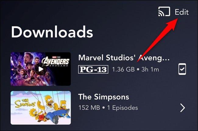 Aplicación Disney + Presiona el botón Editar