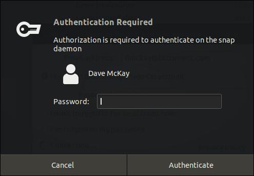 Fenêtre de dialogue d'authentification Ubuntu