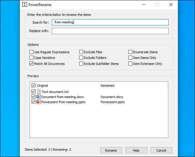 Usando la herramienta de cambio de nombre por lotes PowerRename de Microsoft.