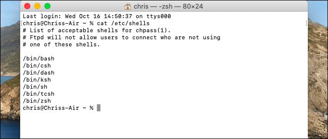 Lista de shells disponibles en el terminal macOS Catalina.