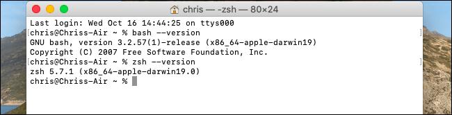 Anzeigen von Versionen von Bash und Zsh unter macOS Catalina.