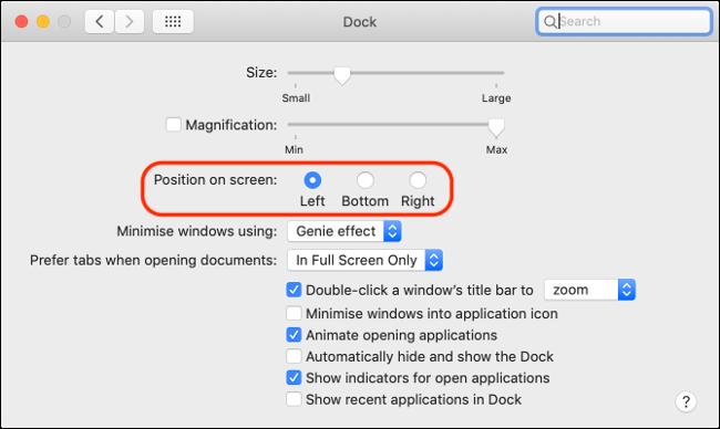 Alignement et préférences du Dock macOS