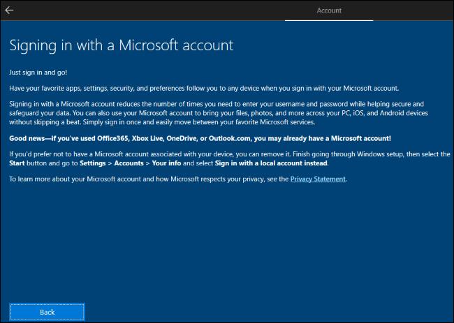 Windows 10 explica que necesita crear una cuenta de Microsoft y luego eliminarla.