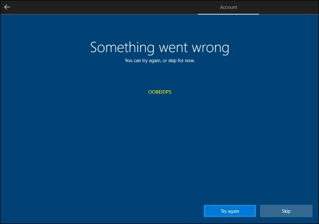 Omita la creación de una cuenta de Microsoft en Windows 10.