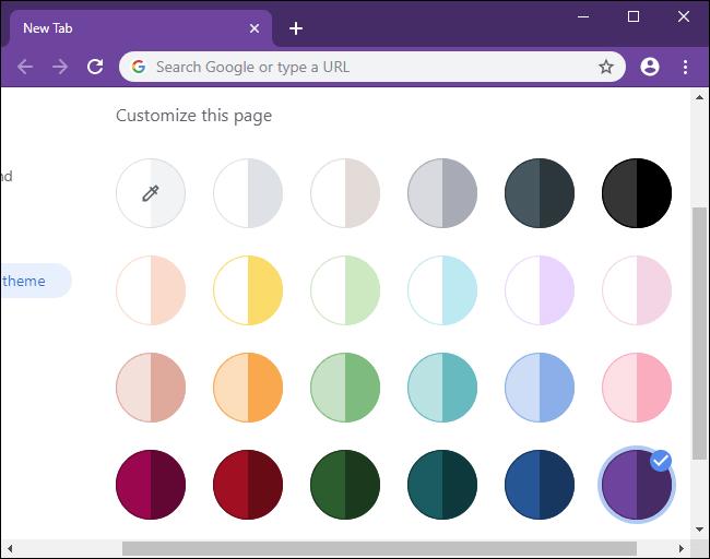 Selección de sus colores favoritos en Chrome 77.