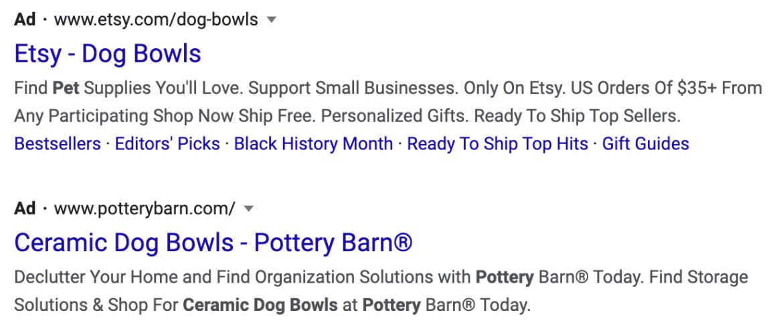 Ejemplo de anuncios de búsqueda de Google.