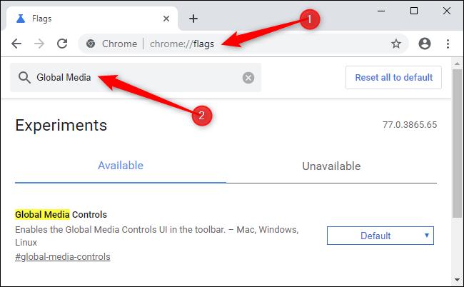 Aktivieren globaler Mediensteuerelemente in Google Chrome.