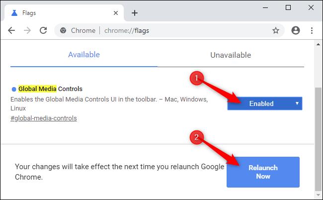 Starten Sie Chrome neu, nachdem Sie eine Anzeige aktiviert haben.